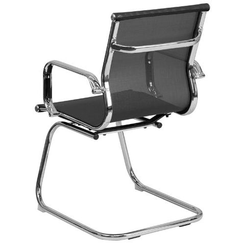 Flash Furniture Transparent Black Mesh Side Reception Chair with Chrome Sled Base BT2768LGG ; Image 3 ; UPC 889142010272
