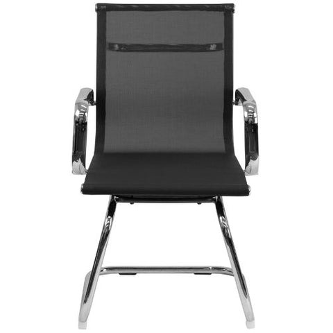 Flash Furniture Transparent Black Mesh Side Reception Chair with Chrome Sled Base BT2768LGG ; Image 4 ; UPC 889142010272