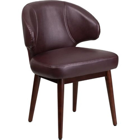 Flash Furniture Comfort Back Series Burgundy Leather Side Reception Chair with Walnut Legs BT3BGGG ; Image 1 ; UPC 889142055419