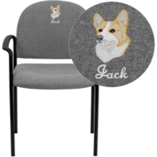 Flash Furniture Embroidered Comfort Navy Fabric Stackable Steel Side Reception Chair with Arms BT5161NVYEMBGG ; Image 1 ; UPC 847254051095