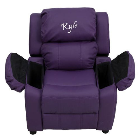 Flash Furniture Personalized Deluxe Padded Purple Vinyl Kids Recliner with Storage Arms BT7985KIDPUREMBGG ; Image 2 ; UPC 847254022163
