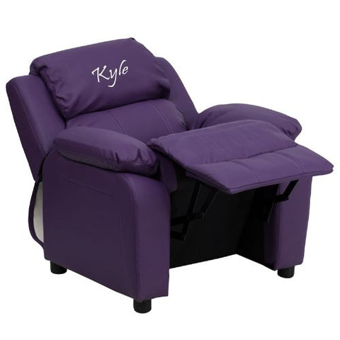 Flash Furniture Personalized Deluxe Padded Purple Vinyl Kids Recliner with Storage Arms BT7985KIDPUREMBGG ; Image 3 ; UPC 847254022163