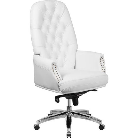 Flash Furniture High Back Traditional Tufted White Leather Multifunction Executive Swivel Ergonomic Office Chair with Arms BT90269HWHGG ; Image 1 ; UPC 889142077886