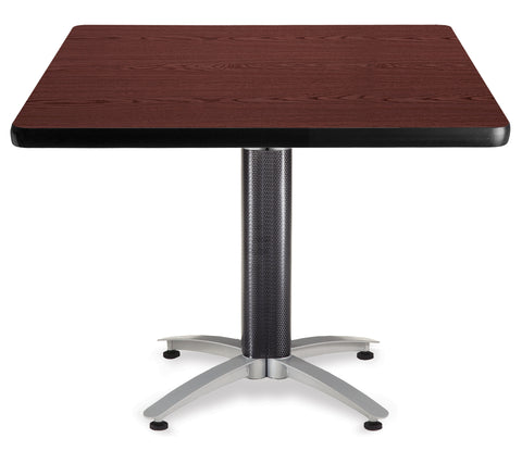 "OFM Model MT42SQ 42"" Multi-Purpose Square Table with Metal Mesh Base, Mahogany ; UPC: 811588010462 ; Image 1"