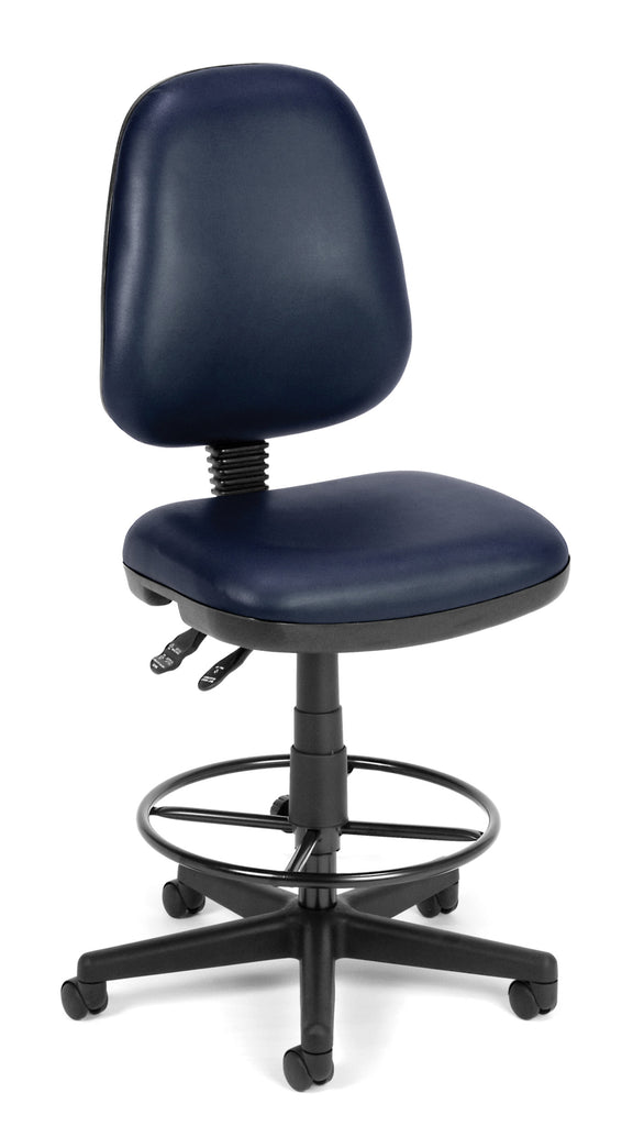 OFM Straton Series Model 119-VAM-DK Armless Swivel Task Chair with Drafting Kit, Anti-Microbial Vinyl, Navy ; UPC: 845123011553 ; Image 1