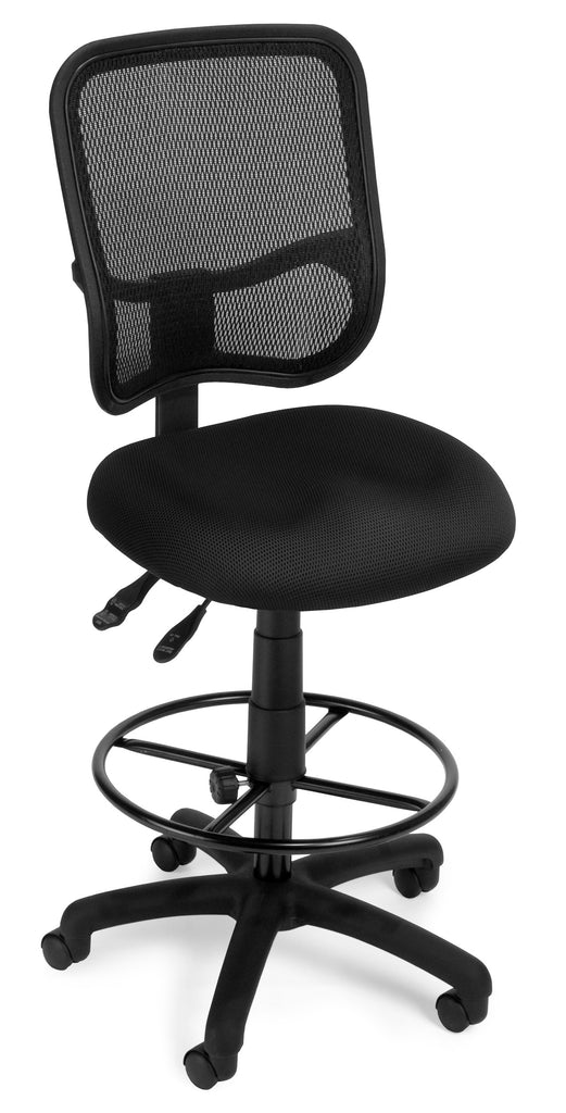 OFM Comfort Series Model 130-DK Ergonomic Mesh Swivel Armless Task Chair with Drafting Kit, Mid Back, Black ; UPC: 845123011782 ; Image 1