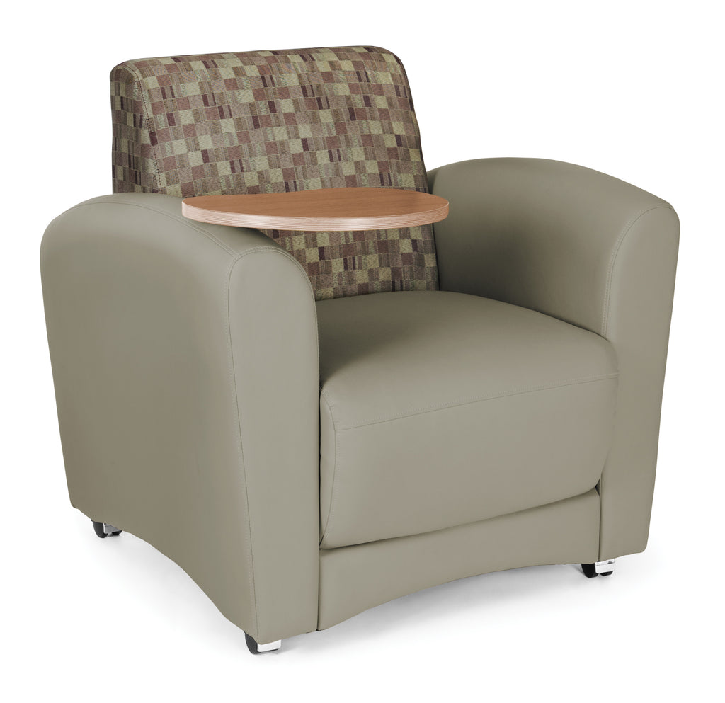 OFM InterPlay Series Upholstered Guest / Reception Chair, Plum/Taupe, Bronze Tablet ; UPC: 845123031056 ; Image 1