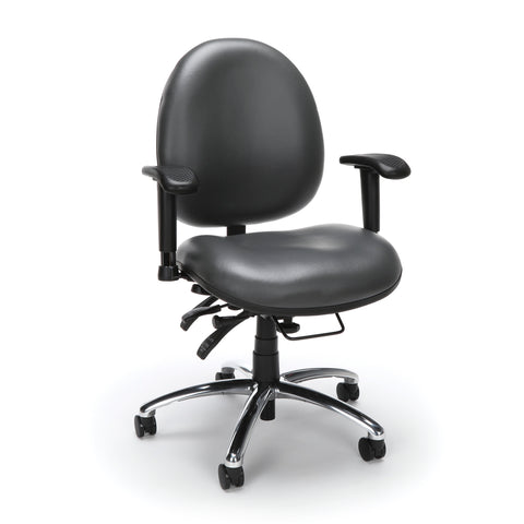 OFM Model 247-VAM 24 Hour Big and Tall Ergonomic Computer Swivel Task Chair with Arms, Anti-Microbial/Anti-Bacterial Vinyl, Charcoal ; UPC: 811588013036 ; Image 1