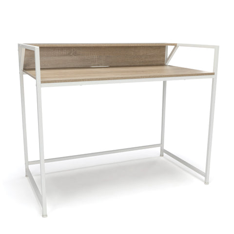 Essentials by OFM ESS-1003 Computer Desk with Shelf, White with Natural ; UPC: 845123095454 ; Image 1