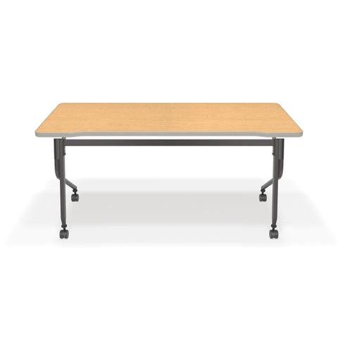"OFM Mesa Series Model 66152 Flip Nesting Training Table and Desk, 23.5"" x 59"", Oak ; UPC: 845123080405 ; Image 3"