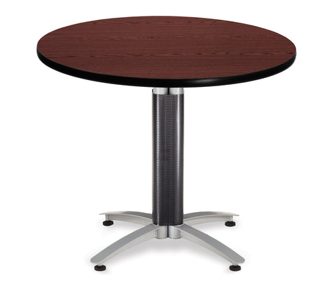 "OFM Model MT36RD 36"" Multi-Purpose Round Table with Metal Mesh Base, Mahogany (KMT36RD-MHGY) ; UPC: 811588010356 ; Image 1"