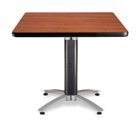 "OFM Model MT36SQ 36"" Multi-Purpose Square Table with Metal Mesh Base, Cherry ; UPC: 811588010370 ; Image 1"