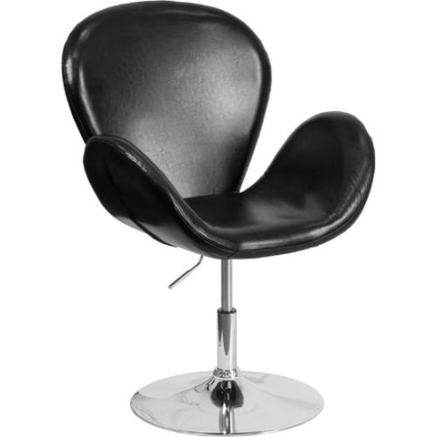 Flash Furniture HERCULES Trestron Series Black Leather Side Reception Chair with Adjustable Height Seat CH112420BKGG ; Image 1 ; UPC 889142047988