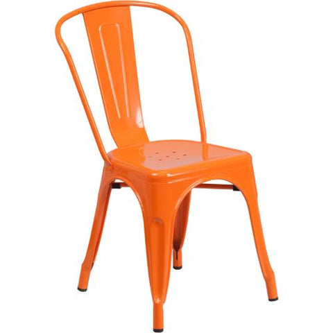 Flash Furniture Orange Metal Indoor-Outdoor Stackable Chair CH31230ORGG ; Image 1 ; UPC 889142002734