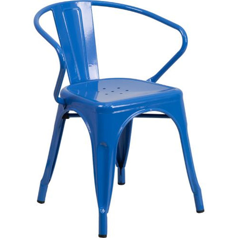 Flash Furniture Blue Metal Indoor-Outdoor Chair with Arms CH31270BLGG ; Image 1 ; UPC 889142014065