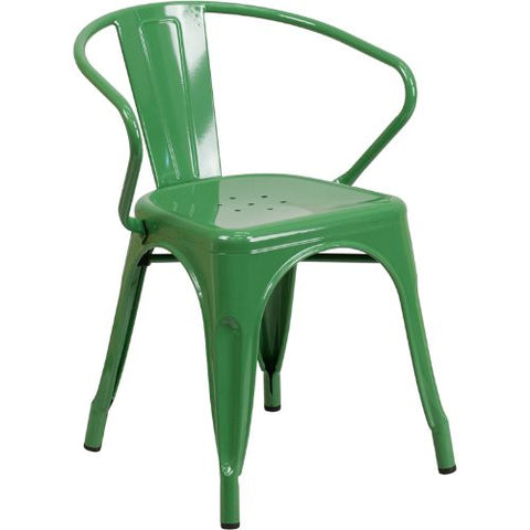 Flash Furniture Green Metal Indoor-Outdoor Chair with Arms CH31270GNGG ; Image 1 ; UPC 889142014072