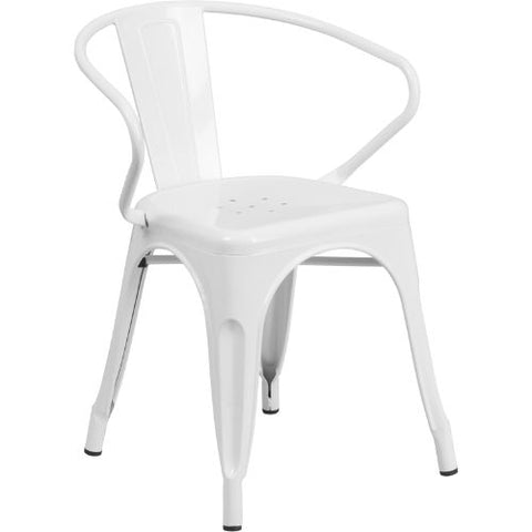 Flash Furniture White Metal Indoor-Outdoor Chair with Arms CH31270WHGG ; Image 1 ; UPC 889142002772