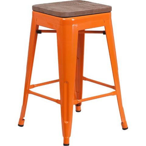 "Flash Furniture 24"" High Backless Orange Metal Counter Height Stool with Square Wood Seat CH3132024ORWDGG ; Image 1 ; UPC 889142874232"