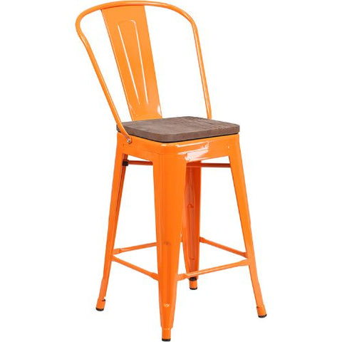 "Flash Furniture 24"" High Orange Metal Counter Height Stool with Back and Wood Seat CH3132024GBORWDGG ; Image 1 ; UPC 889142875949"