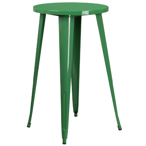 24'' Round Green Metal Indoor-Outdoor Bar Height Table ; UPC: 889142064985 ; Color: Green