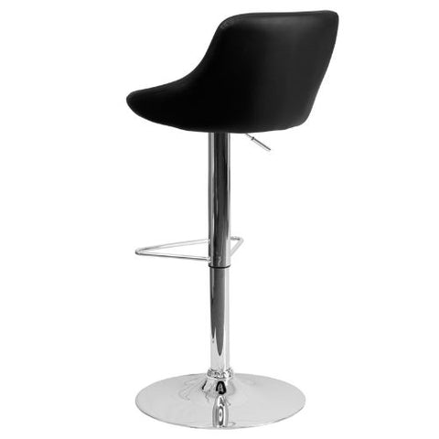 Flash Furniture Contemporary Black Vinyl Bucket Seat Adjustable Height Barstool with Chrome Base CH82028MODBKGG ; Image 4 ; UPC 847254065733