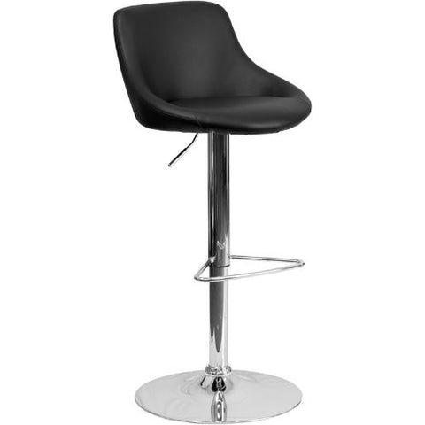 Flash Furniture Contemporary Black Vinyl Bucket Seat Adjustable Height Barstool with Chrome Base CH82028MODBKGG ; Image 1 ; UPC 847254065733