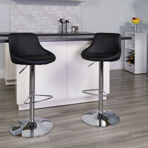 Flash Furniture Contemporary Black Vinyl Bucket Seat Adjustable Height Barstool with Chrome Base CH82028MODBKGG ; Image 2 ; UPC 847254065733
