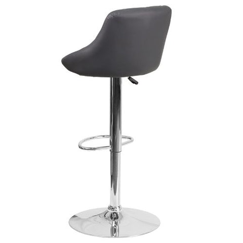 Flash Furniture Contemporary Gray Vinyl Bucket Seat Adjustable Height Barstool with Chrome Base CH82028AGYGG ; Image 3 ; UPC 889142048121