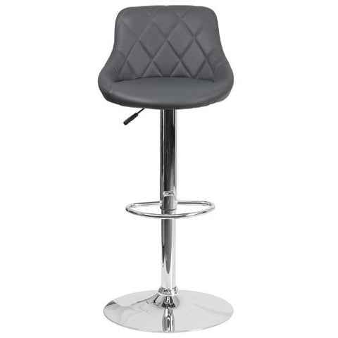 Flash Furniture Contemporary Gray Vinyl Bucket Seat Adjustable Height Barstool with Chrome Base CH82028AGYGG ; Image 4 ; UPC 889142048121