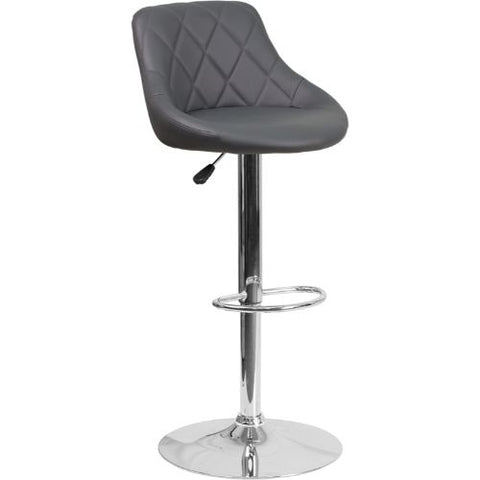 Flash Furniture Contemporary Gray Vinyl Bucket Seat Adjustable Height Barstool with Chrome Base CH82028AGYGG ; Image 1 ; UPC 889142048121