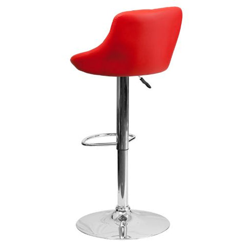 Flash Furniture Contemporary Red Vinyl Bucket Seat Adjustable Height Barstool with Diamond Pattern Back and Chrome Base CH82028AREDGG ; Image 4 ; UPC 847254065702