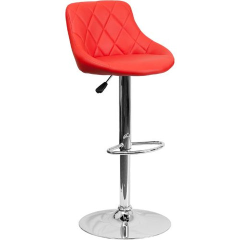 Flash Furniture Contemporary Red Vinyl Bucket Seat Adjustable Height Barstool with Diamond Pattern Back and Chrome Base CH82028AREDGG ; Image 1 ; UPC 847254065702