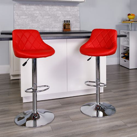 Flash Furniture Contemporary Red Vinyl Bucket Seat Adjustable Height Barstool with Diamond Pattern Back and Chrome Base CH82028AREDGG ; Image 2 ; UPC 847254065702
