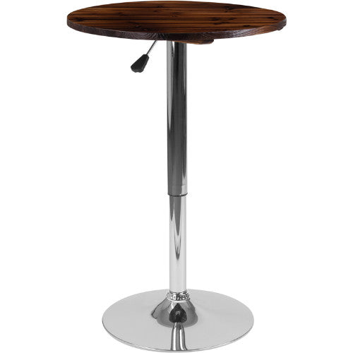 Flash Furniture 23.5'' Round Adjustable Height Rustic Pine Wood Table (Adjustable Range 26.25'' - 35.5'') CH9GG ; Image 1 ; UPC 889142215875