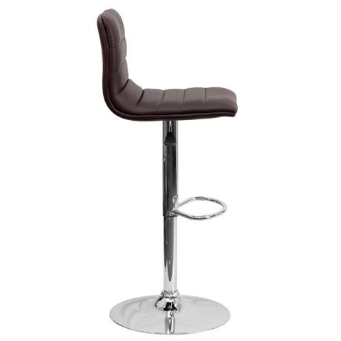 Flash Furniture Contemporary Brown Vinyl Adjustable Height Barstool with Horizontal Stitch Back and Chrome Base CH920231BRNGG ; Image 3 ; UPC 847254024860