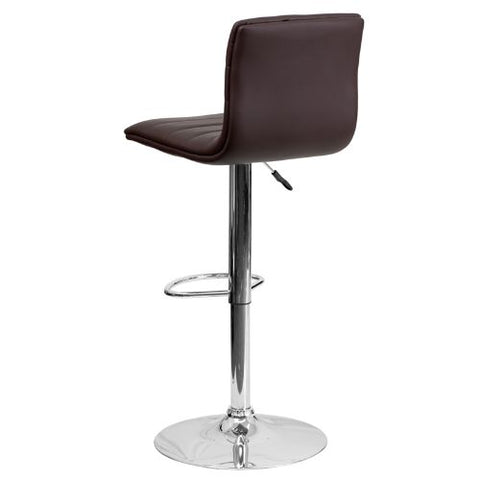 Flash Furniture Contemporary Brown Vinyl Adjustable Height Barstool with Horizontal Stitch Back and Chrome Base CH920231BRNGG ; Image 4 ; UPC 847254024860