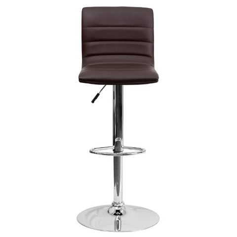 Flash Furniture Contemporary Brown Vinyl Adjustable Height Barstool with Horizontal Stitch Back and Chrome Base CH920231BRNGG ; Image 5 ; UPC 847254024860