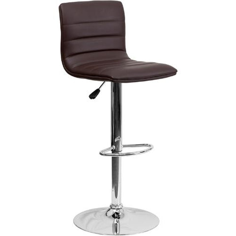 Flash Furniture Contemporary Brown Vinyl Adjustable Height Barstool with Horizontal Stitch Back and Chrome Base CH920231BRNGG ; Image 1 ; UPC 847254024860