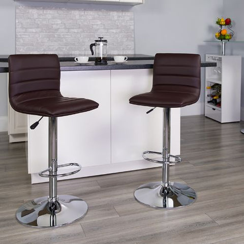 Flash Furniture Contemporary Brown Vinyl Adjustable Height Barstool with Horizontal Stitch Back and Chrome Base CH920231BRNGG ; Image 2 ; UPC 847254024860