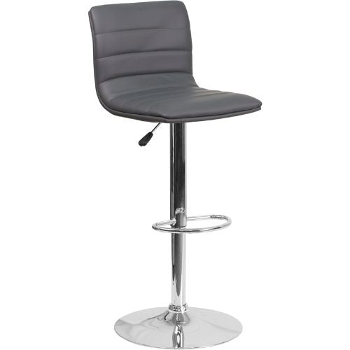 Flash Furniture Contemporary Gray Vinyl Adjustable Height Barstool with Horizontal Stitch Back and Chrome Base CH920231GYGG ; Image 1 ; UPC 889142048190