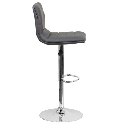 Flash Furniture Contemporary Gray Vinyl Adjustable Height Barstool with Horizontal Stitch Back and Chrome Base CH920231GYGG ; Image 3 ; UPC 889142048190