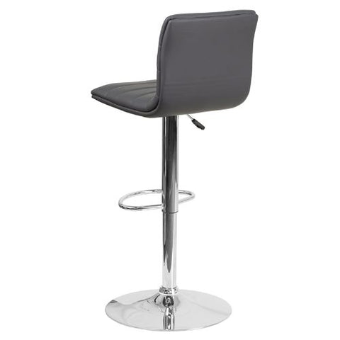 Flash Furniture Contemporary Gray Vinyl Adjustable Height Barstool with Horizontal Stitch Back and Chrome Base CH920231GYGG ; Image 4 ; UPC 889142048190
