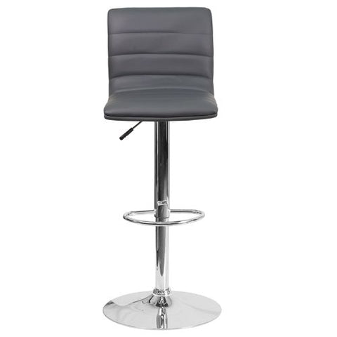Flash Furniture Contemporary Gray Vinyl Adjustable Height Barstool with Horizontal Stitch Back and Chrome Base CH920231GYGG ; Image 5 ; UPC 889142048190