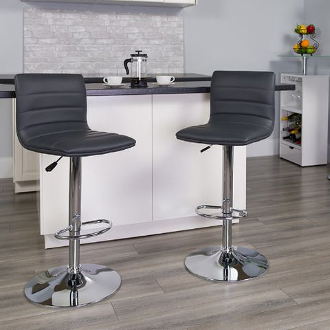 Flash Furniture Contemporary Gray Vinyl Adjustable Height Barstool with Horizontal Stitch Back and Chrome Base CH920231GYGG ; Image 2 ; UPC 889142048190