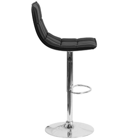 Flash Furniture Contemporary Black Quilted Vinyl Adjustable Height Barstool with Elongated Curved Back and Chrome Base CH920261BKGG ; Image 3 ; UPC 889142044970
