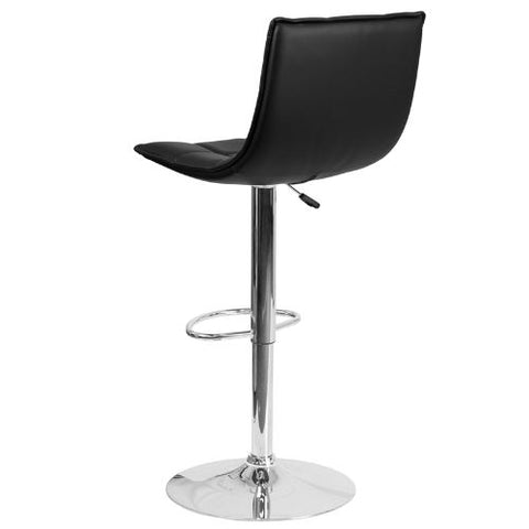 Flash Furniture Contemporary Black Quilted Vinyl Adjustable Height Barstool with Elongated Curved Back and Chrome Base CH920261BKGG ; Image 4 ; UPC 889142044970