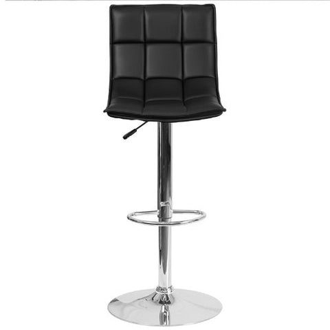 Flash Furniture Contemporary Black Quilted Vinyl Adjustable Height Barstool with Elongated Curved Back and Chrome Base CH920261BKGG ; Image 5 ; UPC 889142044970