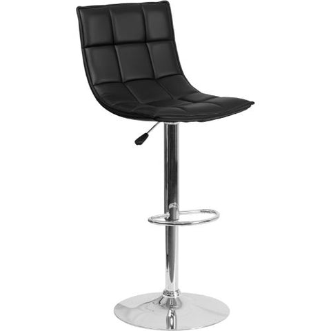 Flash Furniture Contemporary Black Quilted Vinyl Adjustable Height Barstool with Elongated Curved Back and Chrome Base CH920261BKGG ; Image 1 ; UPC 889142044970