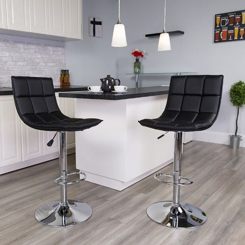 Flash Furniture Contemporary Black Quilted Vinyl Adjustable Height Barstool with Elongated Curved Back and Chrome Base CH920261BKGG ; Image 2 ; UPC 889142044970