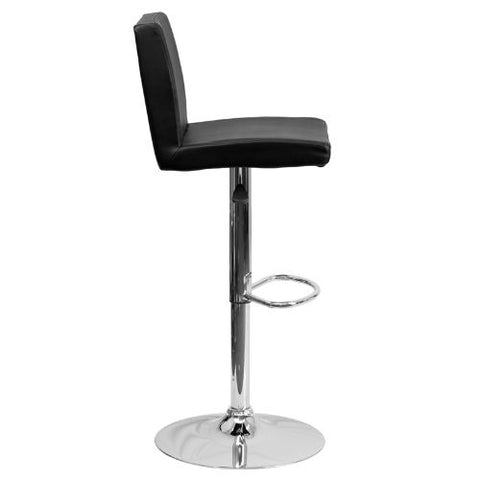 Flash Furniture Contemporary Black Vinyl Adjustable Height Barstool with Panel Back and Chrome Base CH92066BKGG ; Image 3 ; UPC 847254065917